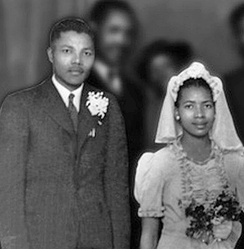 Mandela and Evelyn in July 1944, at Walter and Albertina Sisulu's wedding party in the Bantu Men's Social Centre.[58]