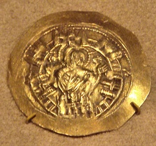 The Virgin Mary rising from among the walls of Constantinople. Coin of Michael VIII Palaiologos, commemorating the recapture of Constantinople in 1261.