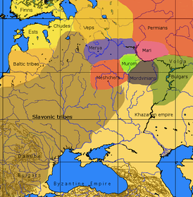 A general map of the cultures in European Russia at the arrival of the Varangians and before the beginning of the Slavic colonization