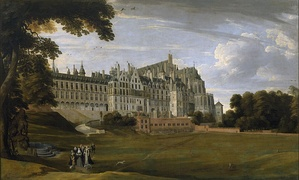 The Palace of Coudenberg from a 17th-century painting, before it burnt down in 1731. Brussels served as the main revenue of the Imperial court of Charles V in the Low Countries.[32][33]