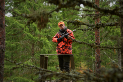 Hunter on the stand during a driven hunt in Finland