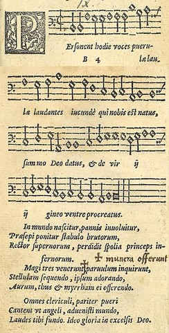 A 1582 published version of the Latin carol Personent hodie