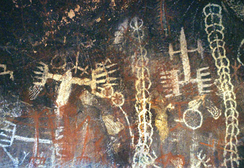 Pictographs in the Burro Flats Painted Cave in Simi Valley.