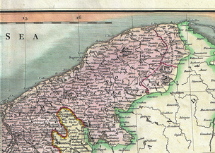 Lordships of Lauenburg and Bütow (identified as Buto) on a map of Farther Pomerania  in the  18th century (on the r. h. s., western border marked in red)