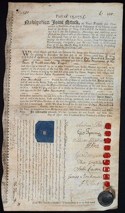River Nene Navigation Joint Stock certificate for the Western Division of the Navigation, issued 1. April 1762