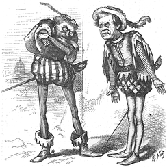 Political cartoon by Thomas Nast:  Senators Schurz and Trumbull in a scene from Shakespeare's Richard III