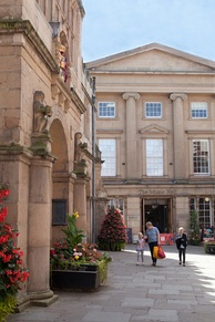The regency façade of Shrewsbury Museum and Art Gallery, formerly the town's theatre. The building, known locally as 'The Music Hall', was converted and reopened as a museum and art gallery in 2014