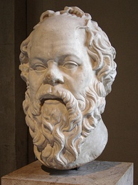In Plato's Apology, Socrates (pictured) was accused by Meletus of not believing in the gods.[152][153]