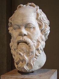 In Plato's Apology, Socrates (pictured) was accused by Meletus of not believing in the gods.[150][151]
