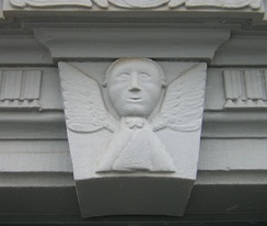 Virgin Sophia design on a Harmony Society doorway in Harmony, Pennsylvania, carved by Frederick Reichert Rapp (1775–1834).