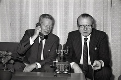 Kjell Holler (right) was a Norwegian industrialist who headed Televerket, after having served as Minister of Industry of Norway.