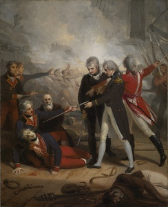 Nelson receives the surrender of the San Nicholas, an 1806 portrait by Richard Westall
