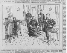 Newspaper depiction of the trial of Queen Liliuokalani
