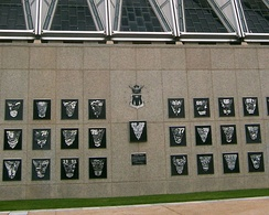 The Class Wall is located just below the Cadet Chapel