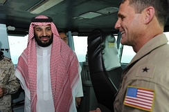 Deputy Crown Prince Mohammad bin Salman aboard the aircraft carrier USS Theodore Roosevelt, 7 July 2015