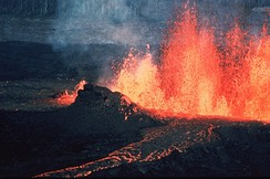 A volcanic fissure and lava channel