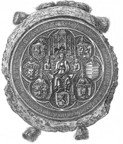 The Royal Seal of Supreme Duke Władysław III Jagiellon, which includes a Lithuanian Vytis (Pahonia) with the wings of a hussar, 1438