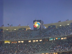Dodger Stadium hosts the 2009 World Baseball Classic. The top of a ten-story elevator shaft bears the World Baseball Classic logo.