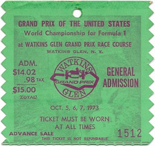 Ticket stub from the 1973 USGP