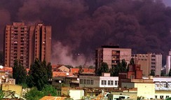 Smoke rising in Novi Sad, Serbia after NATO bombardment in 1999