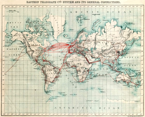 Eastern Telegraph Company 1901 chart of undersea telegraph cabling. An example of modern globalizing technology in the beginning of the 20th century.