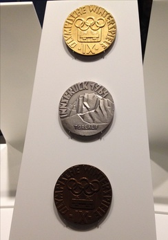 The gold, silver and bronze medals of the 1964 Olympic Winter Games (Olympic Museum).