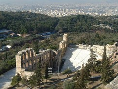 The ancient Herodes Atticus Theatre, in Athens, Greece