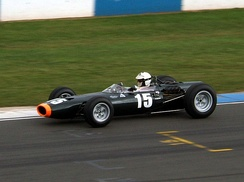 Attwood driving a BRM P261 Formula One car, identical (apart from engine capacity) to the one which he drove in the Tasman Series in 1966 and 1967.