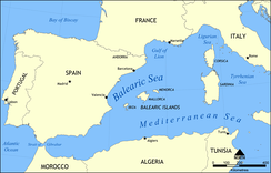 Location of the Balearic Sea