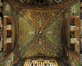 Mosaics on a ceiling and some walls of the Basilica of San Vitale in Ravenna (Italy), circa 547 AD