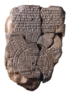 "Babylonian Map of the World (c. 600 BCE). The Old Testament concept of the Earth was very similar: a flat circular Earth ringed by a world-ocean, with fabulous islands or mountains beyond at the ""ends of the earth"".[50]"