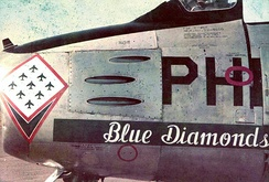 "The Philippine Air Force Blue Diamonds ""Sabre"" emblem on a F-86F Sabre, circa 1962."