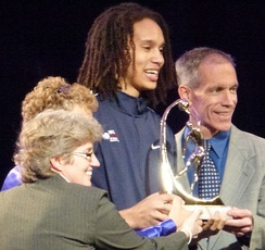 Brittney Griner accepting an award