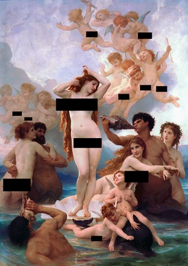 A censored version of The Birth of Venus, by William-Adolphe Bouguereau