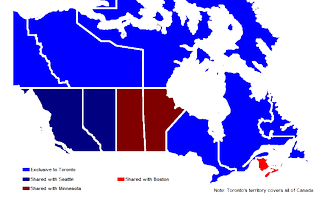 Canadian MLB blackout map