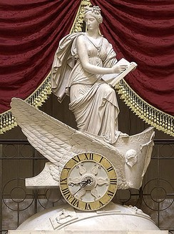 Carlo Franzoni's 1819 sculptural chariot clock, the Car of History, depicting Clio, the Greek muse of history. National Statuary Hall. (2006 view)