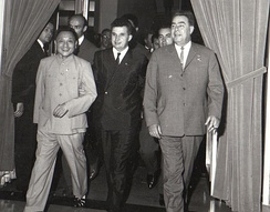 Deng Xiaoping and Brezhnev with Nicolae Ceausescu in Bucharest, 1965