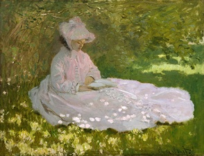 The Impressionist painter Claude Monet used pink, blue and green to capture the effects of light and shadows on a white dress in Springtime (1872).