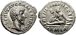 Coin issued to celebrate the victory of Lucius Verus Armeniacus against Vologases IV in the war for Armenia.