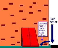 Water can seep into a basement from elevated places nearby, such as a raised driveway. Solutions include: re-mortaring bricks; silicone in cracks; elevating areas next to exterior walls; sloping gutters so water flows away from house.