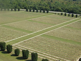 Douaumont French military cemetery seen from Douaumont ossuary, which contains remains of French and German soldiers who died during the Battle of Verdun in 1916