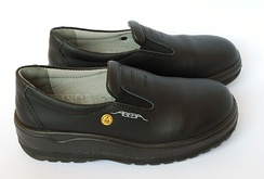 A pair of ISO 20345:2004 compliant anti-static shoes