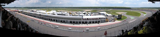 Panorama shot of the speedway from the grandstands.