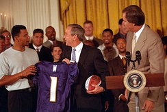 George W. Bush meets with Baltimore Ravens