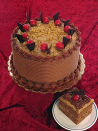 German chocolate cake, a layered cake filled and topped with a coconut-pecan frosting.
