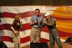 Kathy Griffin, Michael McDonald and Karri Turner perform an improvisational skit for soldiers and airmen in Tikrit, Iraq, March 17, 2006.