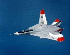 F-14 Tomcat with wings showing asymmetric sweep