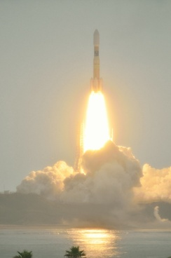 The H-IIB rocket carrying Kounotori 3 lifts off from the Tanegashima space center on 21 July 2012.