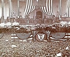 Inauguration of Benjamin Harrison, March 4, 1889. Cleveland held Harrison's umbrella.