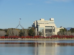 High Court building, viewed across Lake Burley Griffin
